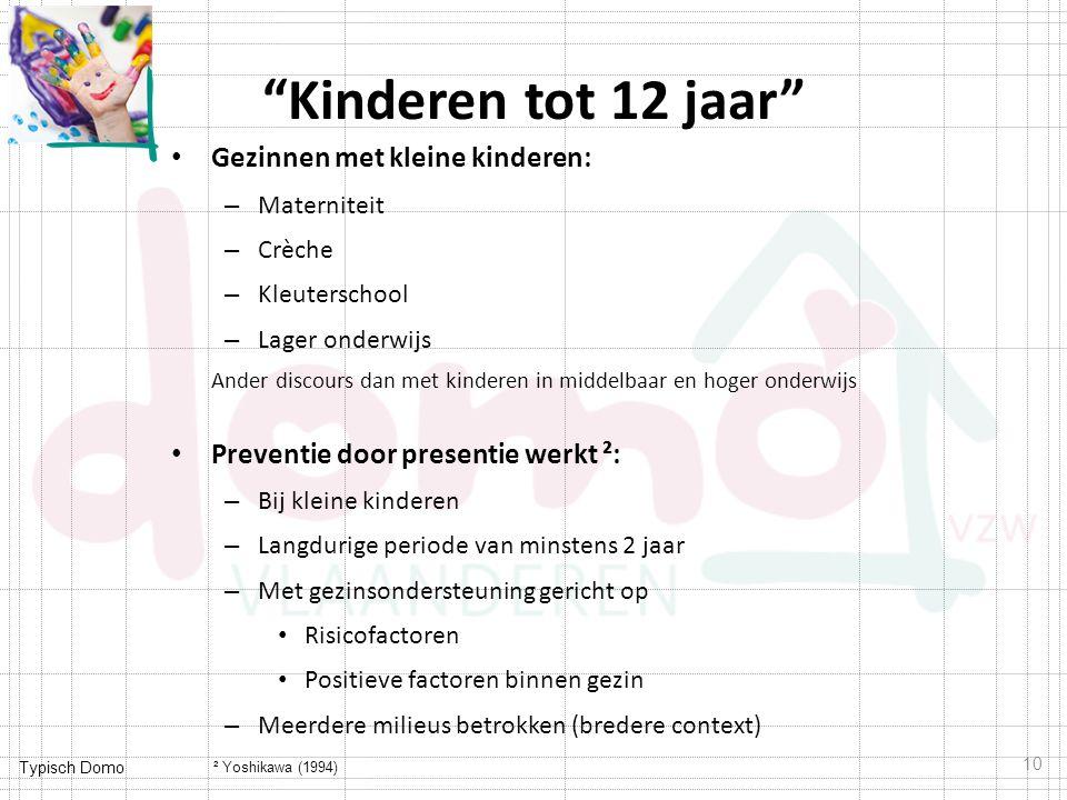 """Typisch Domo """"Kinderen tot 12 jaar"""" Gezinnen met kleine kinderen: – Materniteit – Crèche – Kleuterschool – Lager onderwijs Ander discours dan met kind"""