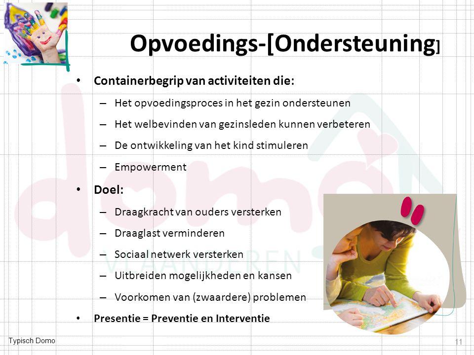 Typisch Domo Opvoedings-[Ondersteuning ] Containerbegrip van activiteiten die: – Het opvoedingsproces in het gezin ondersteunen – Het welbevinden van gezinsleden kunnen verbeteren – De ontwikkeling van het kind stimuleren – Empowerment Doel: – Draagkracht van ouders versterken – Draaglast verminderen – Sociaal netwerk versterken – Uitbreiden mogelijkheden en kansen – Voorkomen van (zwaardere) problemen Presentie = Preventie en Interventie 11