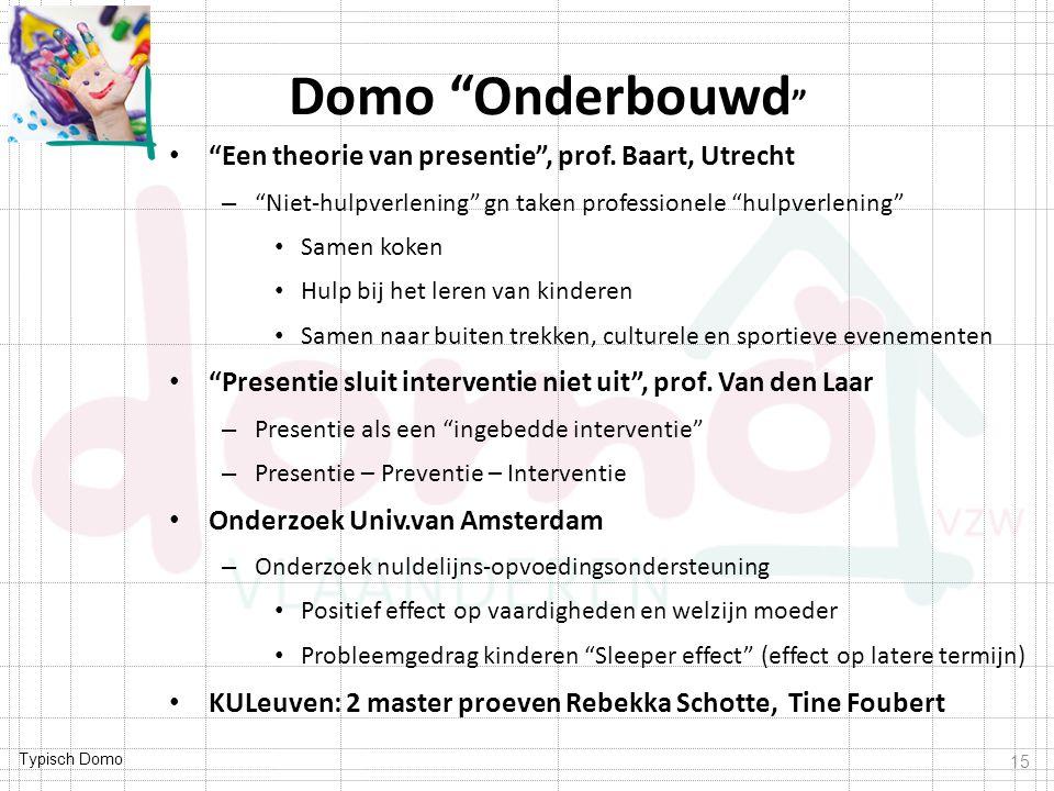 """Typisch Domo Domo """"Onderbouwd """" """"Een theorie van presentie"""", prof. Baart, Utrecht – """"Niet-hulpverlening"""" gn taken professionele """"hulpverlening"""" Samen"""