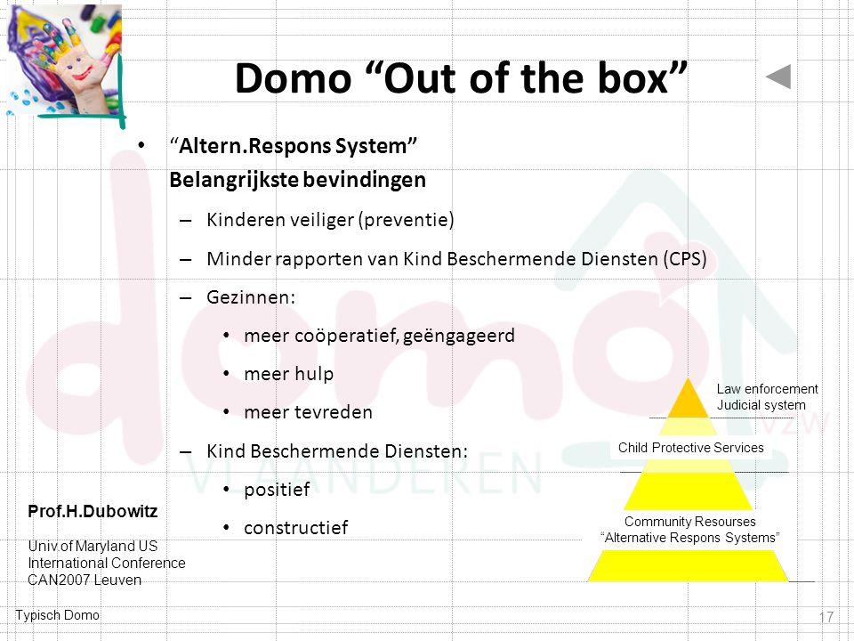 """Typisch Domo Domo """"Out of the box"""" """"Altern.Respons System"""" Belangrijkste bevindingen – Kinderen veiliger (preventie) – Minder rapporten van Kind Besch"""