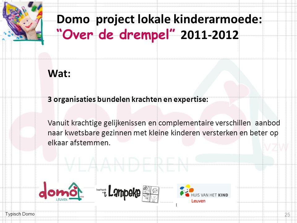 Typisch Domo Wat: 3 organisaties bundelen krachten en expertise: Vanuit krachtige gelijkenissen en complementaire verschillen aanbod naar kwetsbare gezinnen met kleine kinderen versterken en beter op elkaar afstemmen.