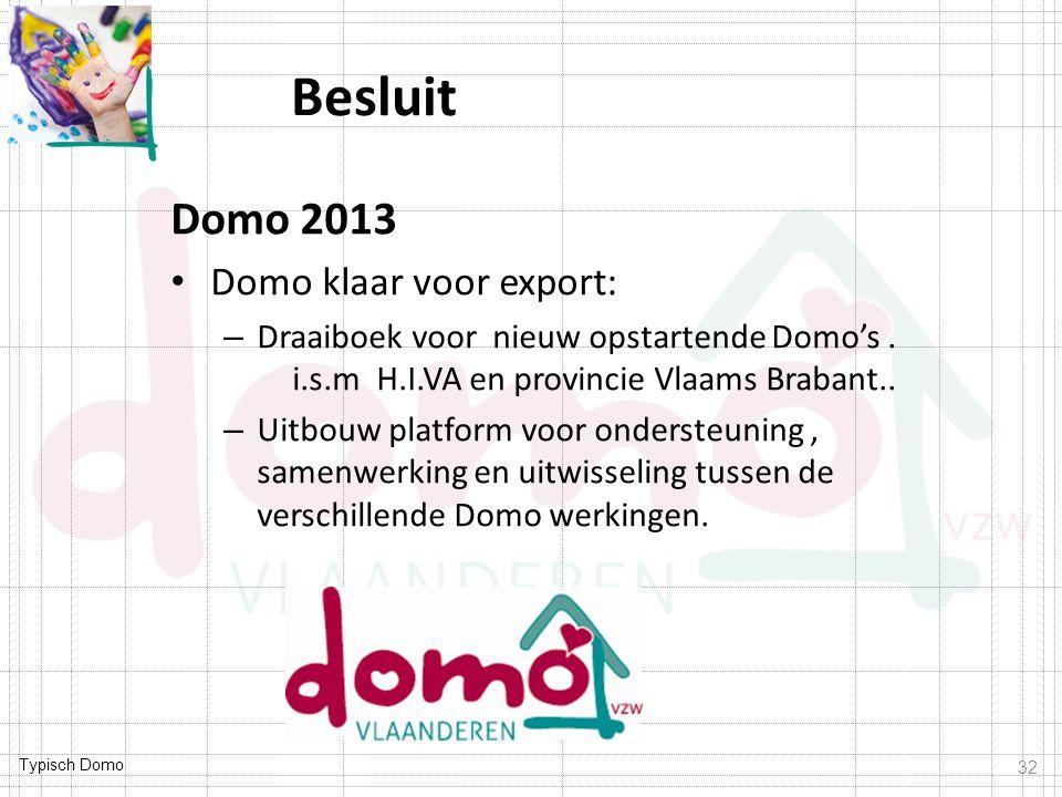 Typisch Domo Besluit Domo 2013 Domo klaar voor export: – Draaiboek voor nieuw opstartende Domo's. i.s.m H.I.VA en provincie Vlaams Brabant.. – Uitbouw