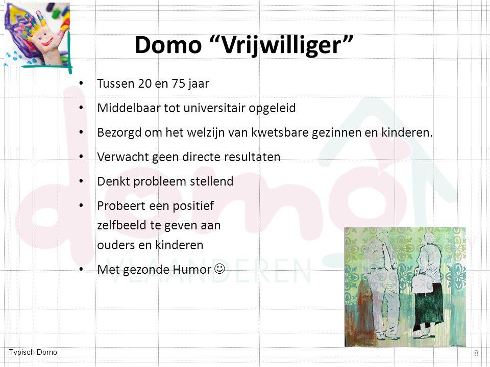 """Typisch Domo Domo """"Vrijwilliger"""" Tussen 20 en 75 jaar Middelbaar tot universitair opgeleid Bezorgd om het welzijn van kwetsbare gezinnen en kinderen."""