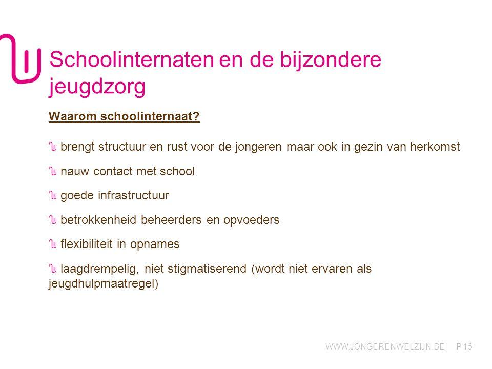 WWW.JONGERENWELZIJN.BE P 15 Schoolinternaten en de bijzondere jeugdzorg Waarom schoolinternaat.