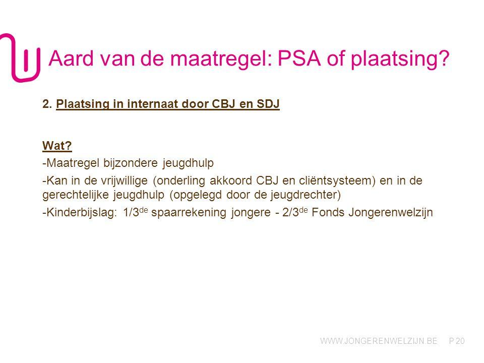 WWW.JONGERENWELZIJN.BE P 20 Aard van de maatregel: PSA of plaatsing.