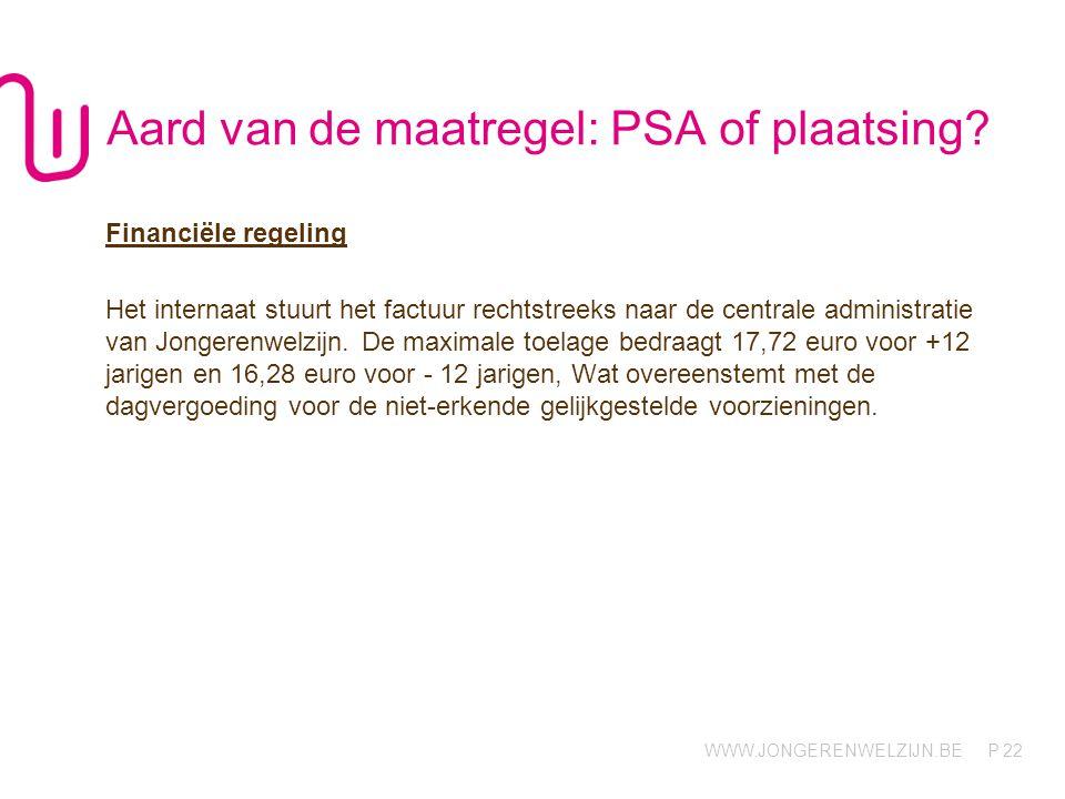 WWW.JONGERENWELZIJN.BE P 22 Aard van de maatregel: PSA of plaatsing.
