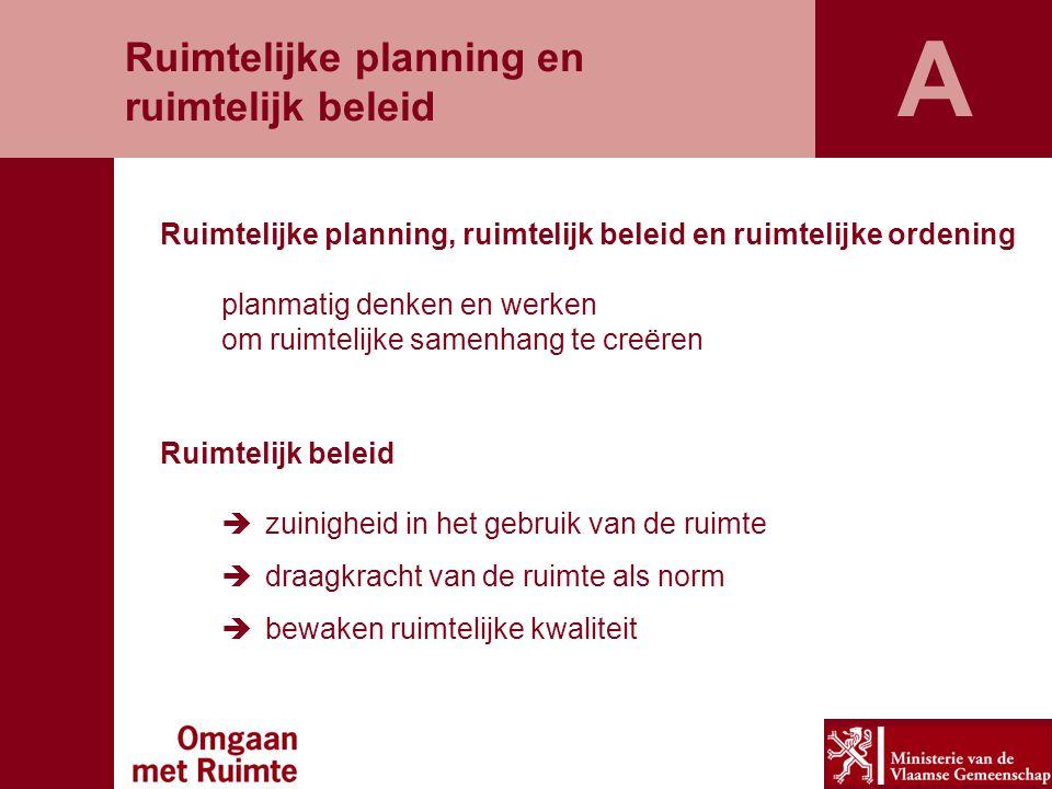 Ruimtelijke planning, ruimtelijk beleid en ruimtelijke ordening planmatig denken en werken om ruimtelijke samenhang te creëren Ruimtelijk beleid  zui