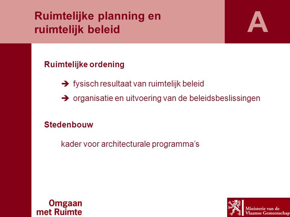 Ruimtelijke ordening  fysisch resultaat van ruimtelijk beleid  organisatie en uitvoering van de beleidsbeslissingen Stedenbouw kader voor architectu