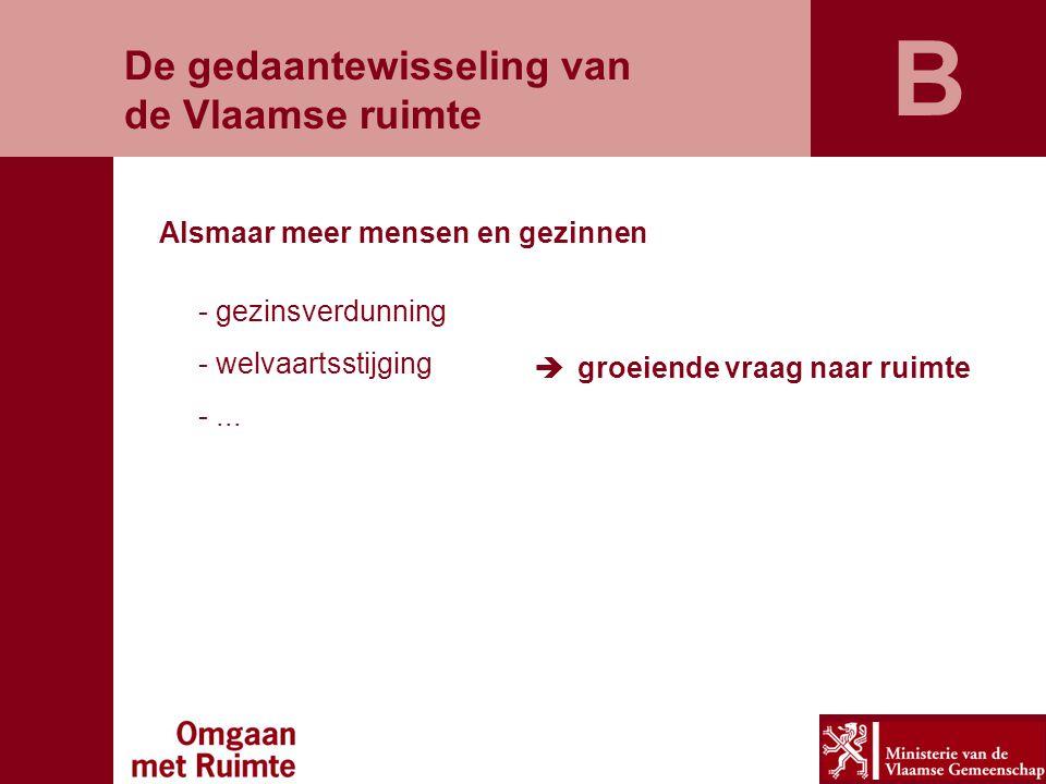 De gedaantewisseling van de Vlaamse ruimte Alsmaar meer mensen en gezinnen - gezinsverdunning - welvaartsstijging -...  groeiende vraag naar ruimte B