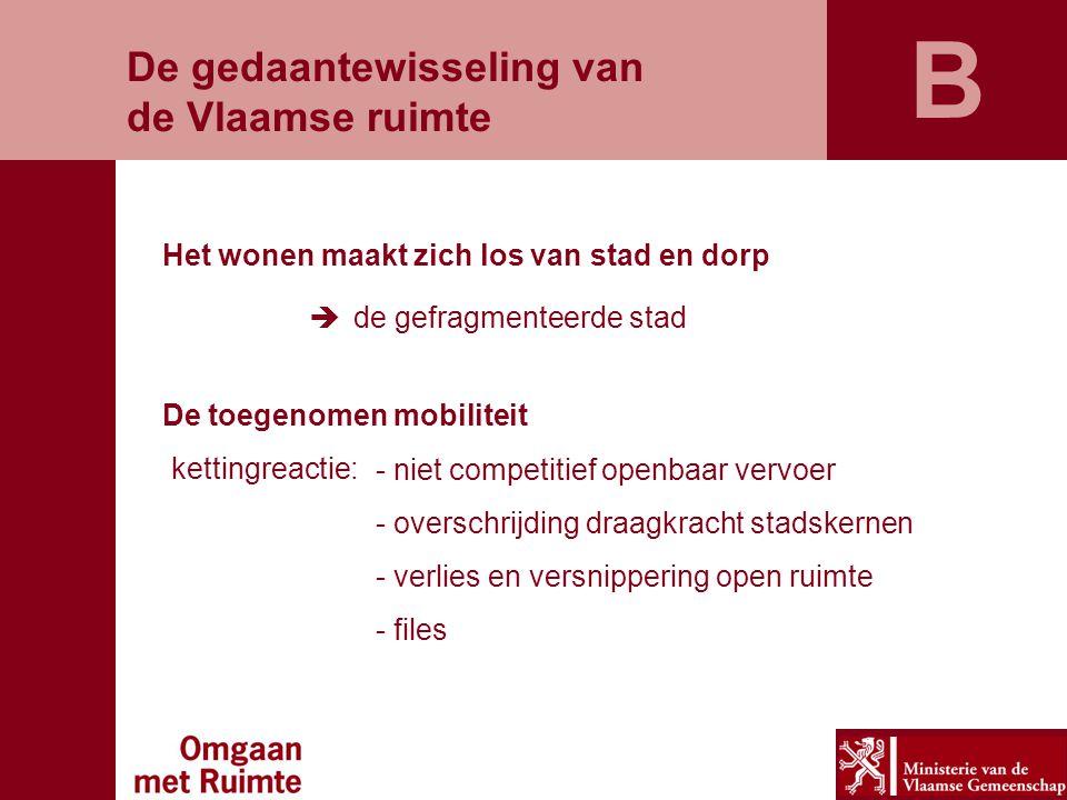De gedaantewisseling van de Vlaamse ruimte Het wonen maakt zich los van stad en dorp  de gefragmenteerde stad De toegenomen mobiliteit kettingreactie