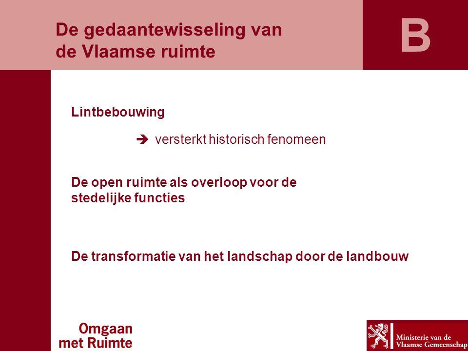 De gedaantewisseling van de Vlaamse ruimte Lintbebouwing  versterkt historisch fenomeen De open ruimte als overloop voor de stedelijke functies De tr