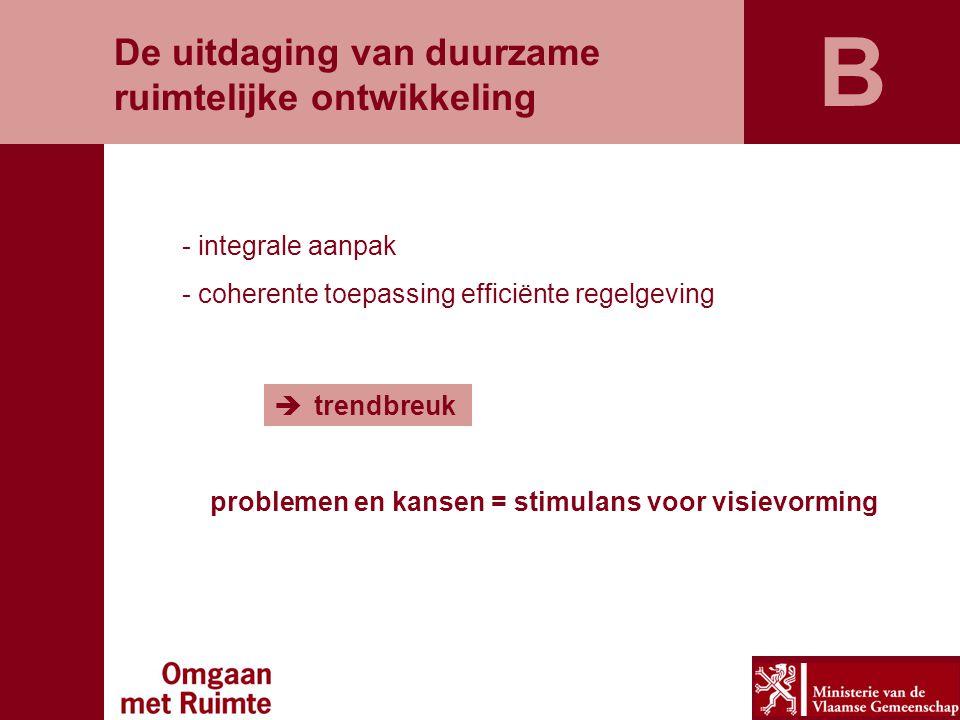 De uitdaging van duurzame ruimtelijke ontwikkeling - integrale aanpak - coherente toepassing efficiënte regelgeving  trendbreuk problemen en kansen =