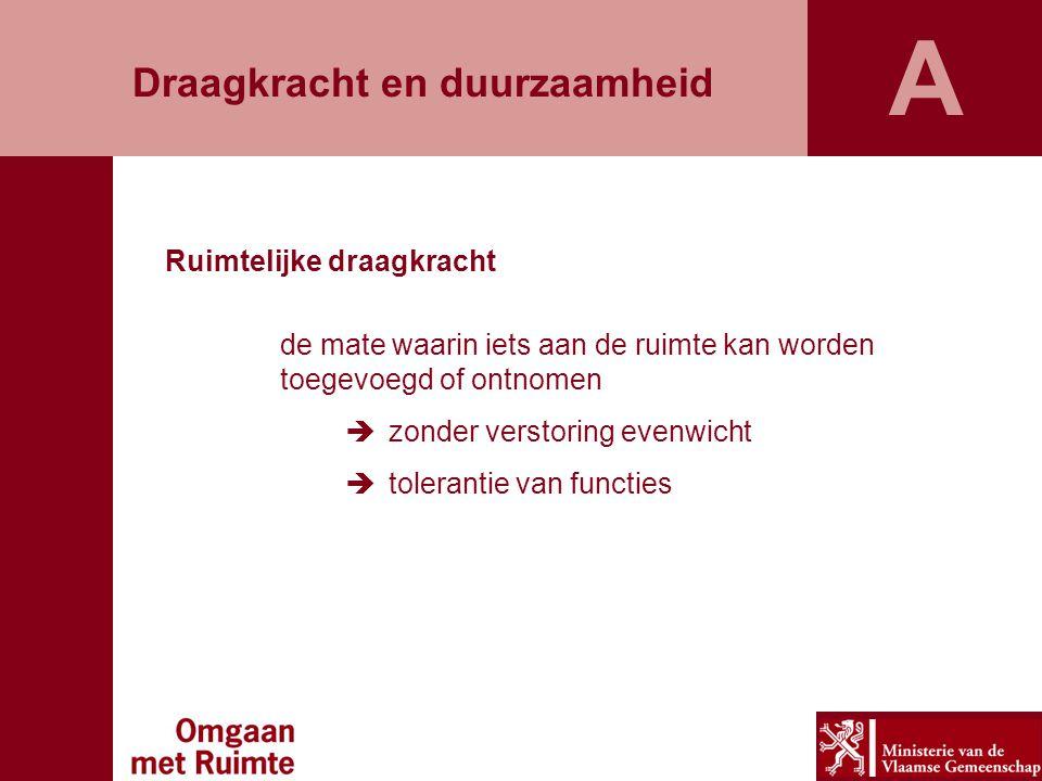 De gedaantewisseling van de Vlaamse ruimte Het ruimtelijk beleid was ontoereikend De grote problemen en grote potenties van onze ruimte De uitdaging van duurzame ruimtelijke ontwikkeling B