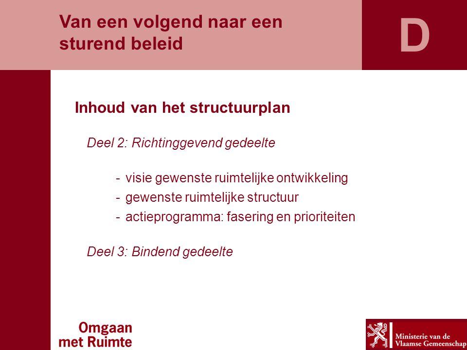 Van een volgend naar een sturend beleid Inhoud van het structuurplan Deel 2: Richtinggevend gedeelte -visie gewenste ruimtelijke ontwikkeling -gewenst