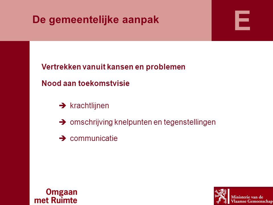 De gemeentelijke aanpak Vertrekken vanuit kansen en problemen Nood aan toekomstvisie  krachtlijnen  omschrijving knelpunten en tegenstellingen  com