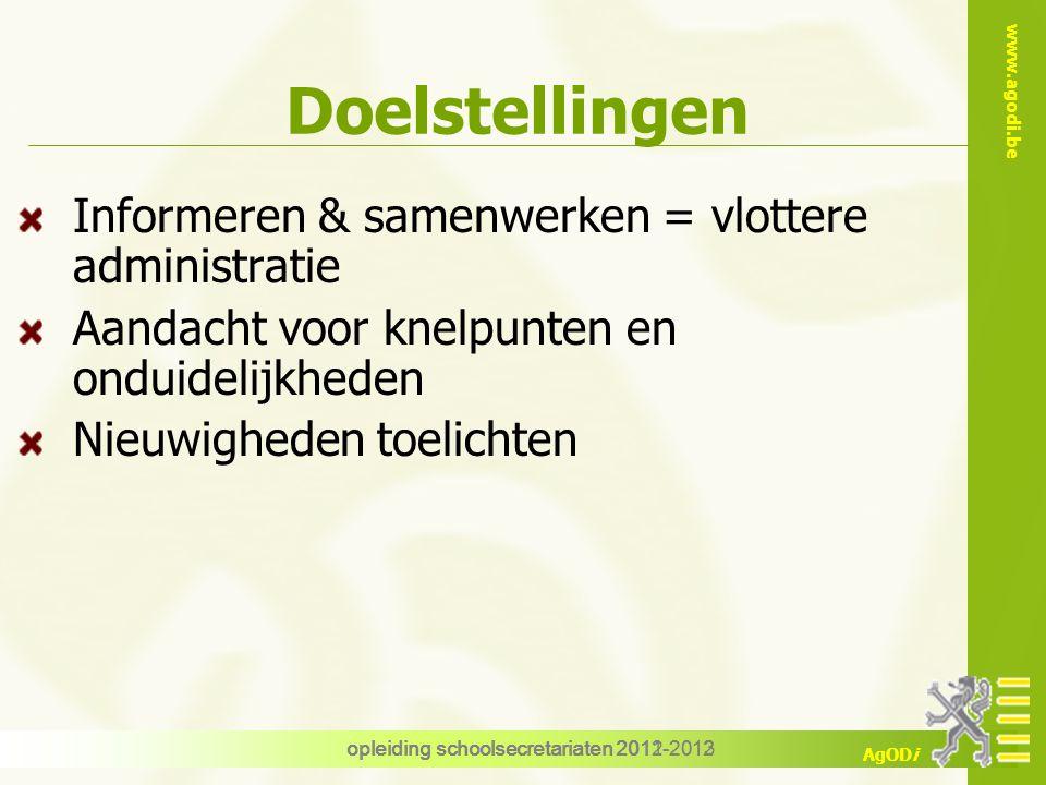 www.agodi.be AgODi Leerlingendossier Opbouw : welk document + doel model richtlijnen bewaartermijn link zendingen opleiding schoolsecretariaten 2012-2013