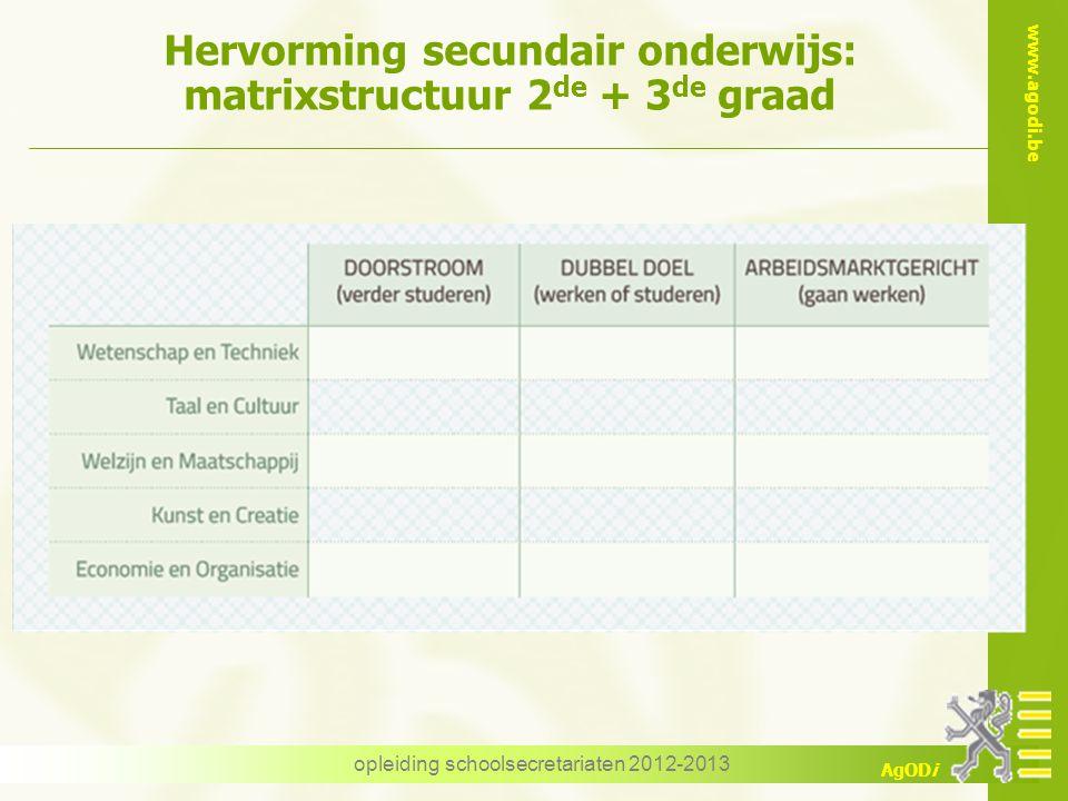 www.agodi.be AgODi Hervorming secundair onderwijs: matrixstructuur 2 de + 3 de graad opleiding schoolsecretariaten 2012-2013