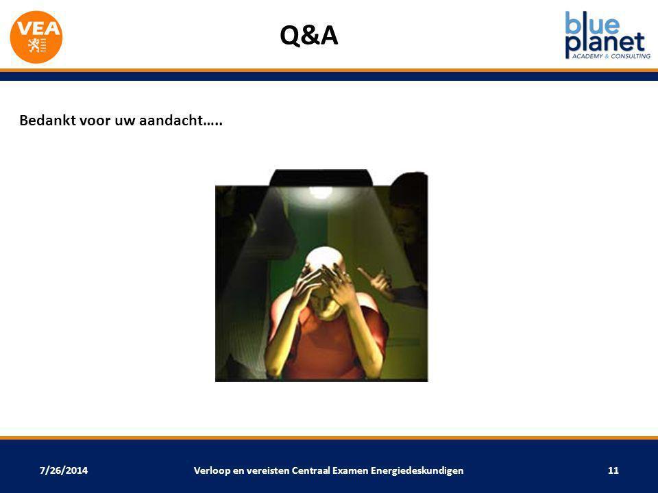 7/26/2014 Q&A Bedankt voor uw aandacht….. Verloop en vereisten Centraal Examen Energiedeskundigen11