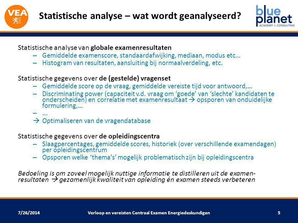 7/26/2014 Statistische analyse – wat wordt geanalyseerd? Statistische analyse van globale examenresultaten – Gemiddelde examenscore, standaardafwijkin