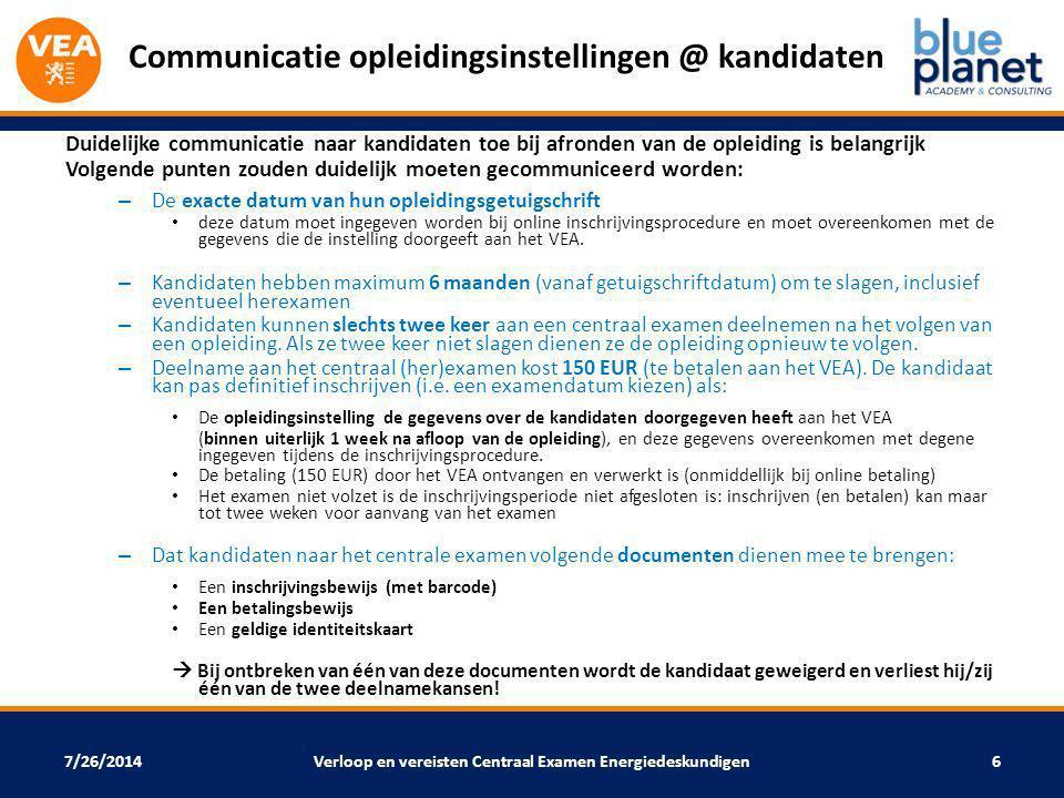 7/26/2014 Communicatie opleidingsinstellingen @ kandidaten Duidelijke communicatie naar kandidaten toe bij afronden van de opleiding is belangrijk Vol
