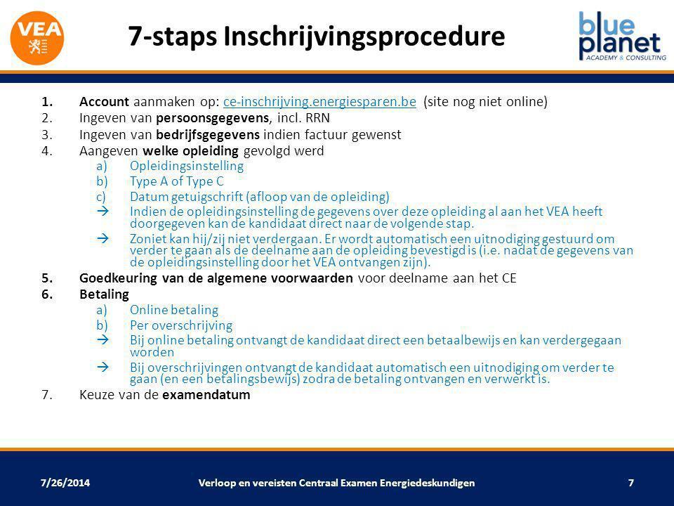 7/26/2014 7-staps Inschrijvingsprocedure 1.Account aanmaken op: ce-inschrijving.energiesparen.be (site nog niet online) 2.Ingeven van persoonsgegevens