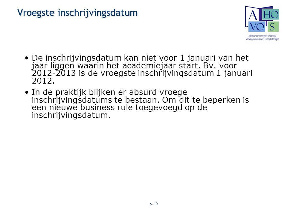p. 10 Vroegste inschrijvingsdatum De inschrijvingsdatum kan niet voor 1 januari van het jaar liggen waarin het academiejaar start. Bv. voor 2012-2013