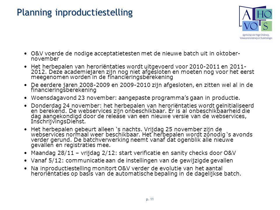 p. 11 Planning inproductiestelling O&V voerde de nodige acceptatietesten met de nieuwe batch uit in oktober- november Het herbepalen van heroriëntatie