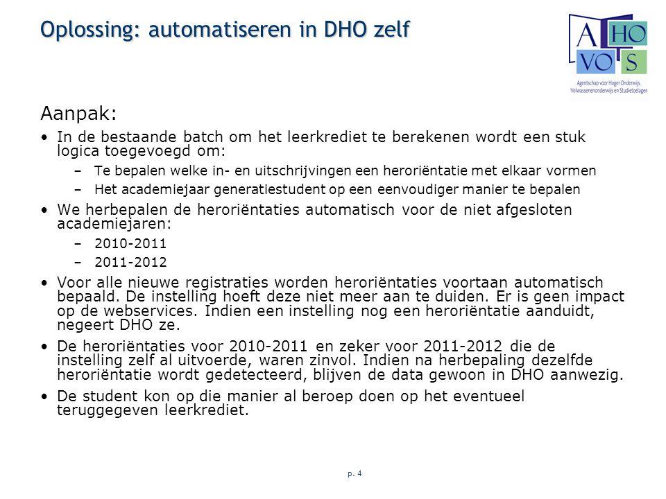 p. 4 Oplossing: automatiseren in DHO zelf Aanpak: In de bestaande batch om het leerkrediet te berekenen wordt een stuk logica toegevoegd om: –Te bepal