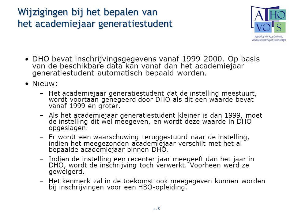 p. 8 Wijzigingen bij het bepalen van het academiejaar generatiestudent DHO bevat inschrijvingsgegevens vanaf 1999-2000. Op basis van de beschikbare da