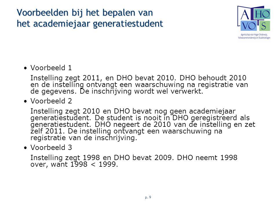 p. 9 Voorbeelden bij het bepalen van het academiejaar generatiestudent Voorbeeld 1 Instelling zegt 2011, en DHO bevat 2010. DHO behoudt 2010 en de ins