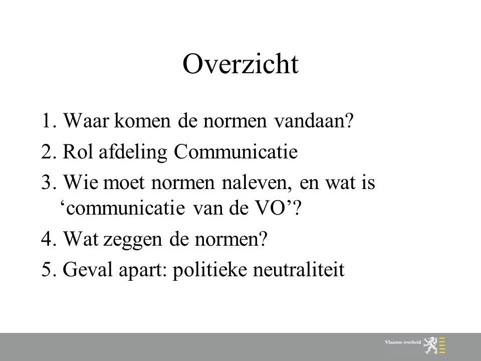 Normen over politieke neutraliteit (1/4) Politiek neutraal = geen propaganda en ondersteuning van partijpolitieke of ideologische doeleinden