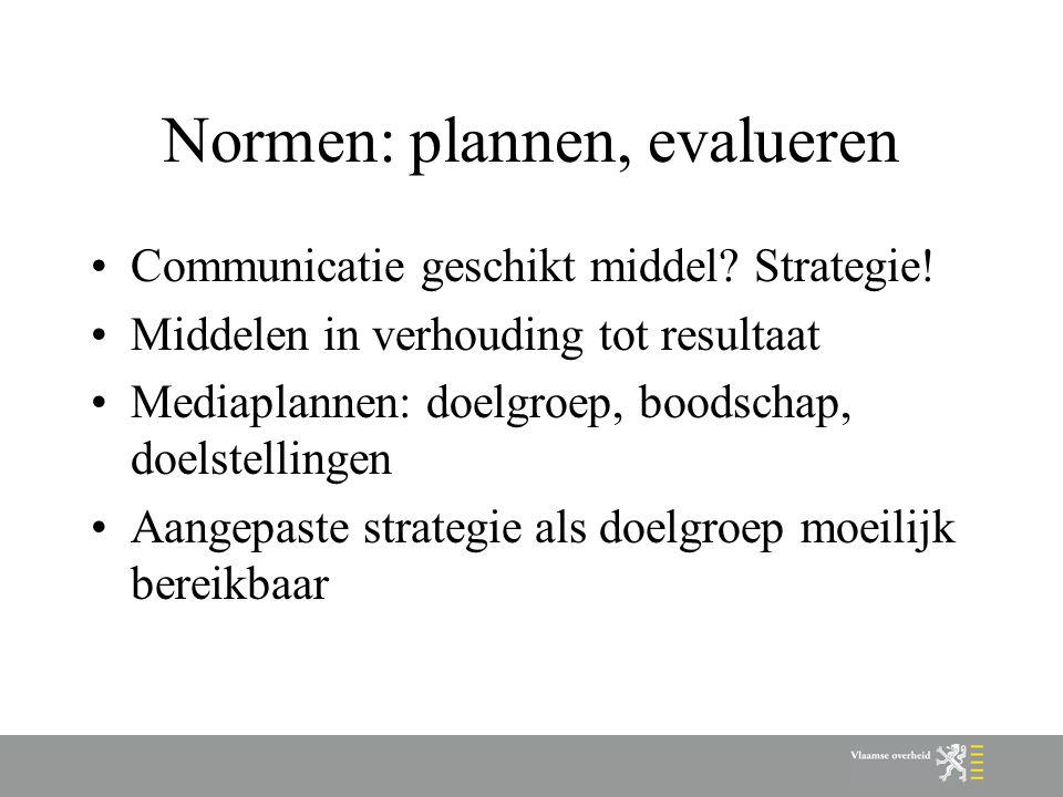 Normen: plannen, evalueren Communicatie geschikt middel? Strategie! Middelen in verhouding tot resultaat Mediaplannen: doelgroep, boodschap, doelstell