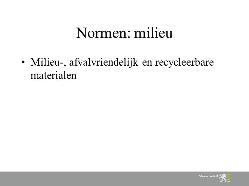 Normen: milieu Milieu-, afvalvriendelijk en recycleerbare materialen