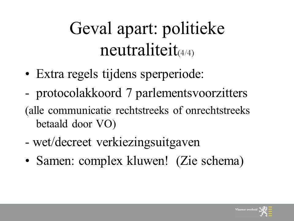 Geval apart: politieke neutraliteit (4/4) Extra regels tijdens sperperiode: -protocolakkoord 7 parlementsvoorzitters (alle communicatie rechtstreeks o
