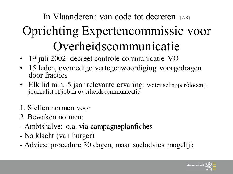 In Vlaanderen: van code tot decreten (2/3) Oprichting Expertencommissie voor Overheidscommunicatie 19 juli 2002: decreet controle communicatie VO 15 l