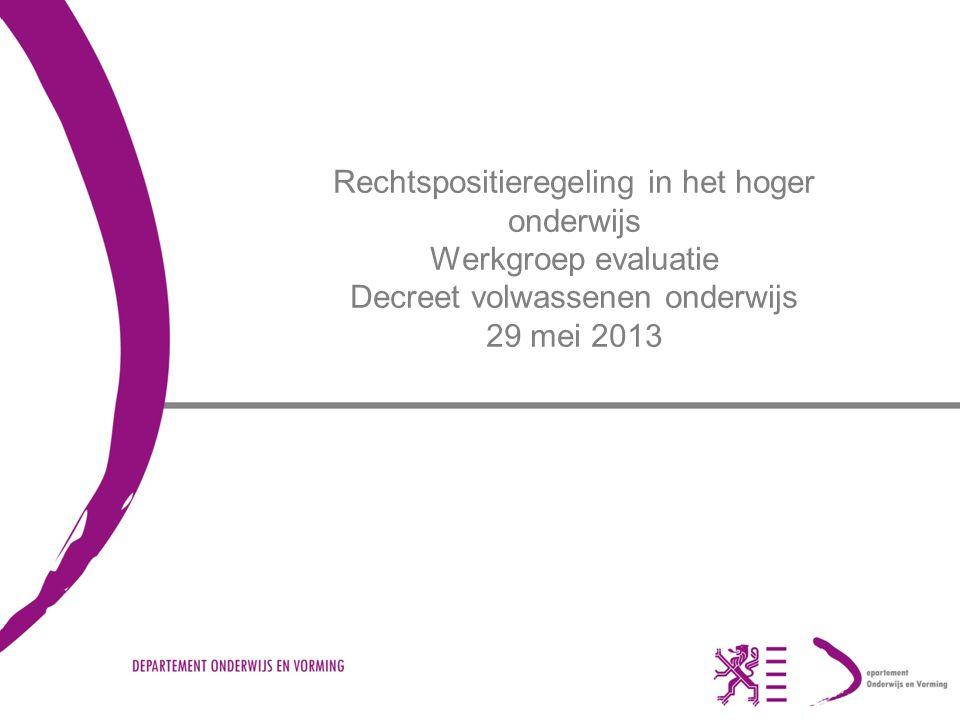 Rechtspositieregeling in het hoger onderwijs Werkgroep evaluatie Decreet volwassenen onderwijs 29 mei 2013