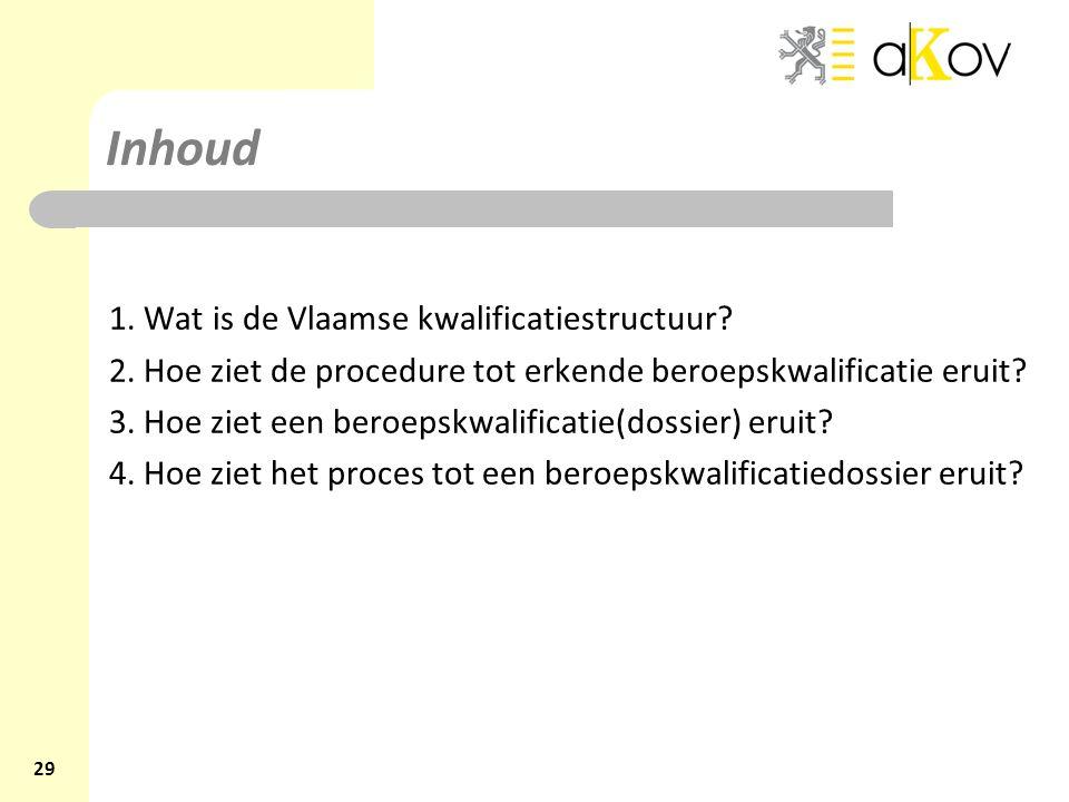Inhoud 1. Wat is de Vlaamse kwalificatiestructuur? 2. Hoe ziet de procedure tot erkende beroepskwalificatie eruit? 3. Hoe ziet een beroepskwalificatie