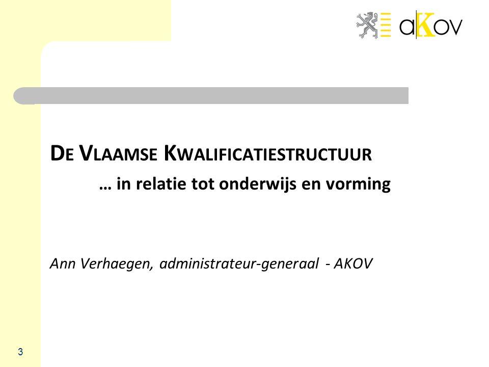 D E V LAAMSE K WALIFICATIESTRUCTUUR … in relatie tot onderwijs en vorming Ann Verhaegen, administrateur-generaal - AKOV 3