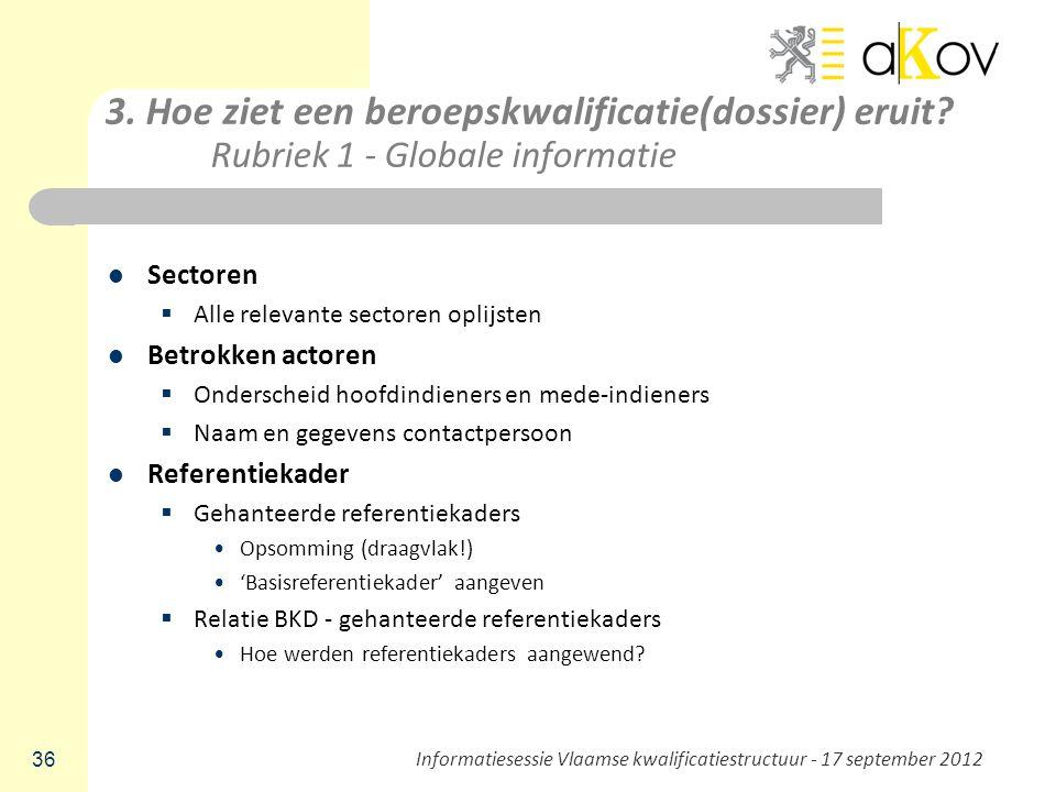 3. Hoe ziet een beroepskwalificatie(dossier) eruit? Rubriek 1 - Globale informatie Sectoren  Alle relevante sectoren oplijsten Betrokken actoren  On