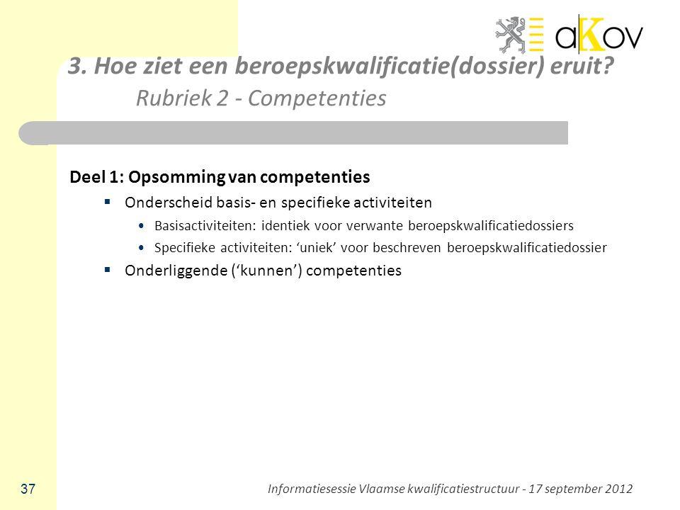 3. Hoe ziet een beroepskwalificatie(dossier) eruit? Rubriek 2 - Competenties Deel 1: Opsomming van competenties  Onderscheid basis- en specifieke act