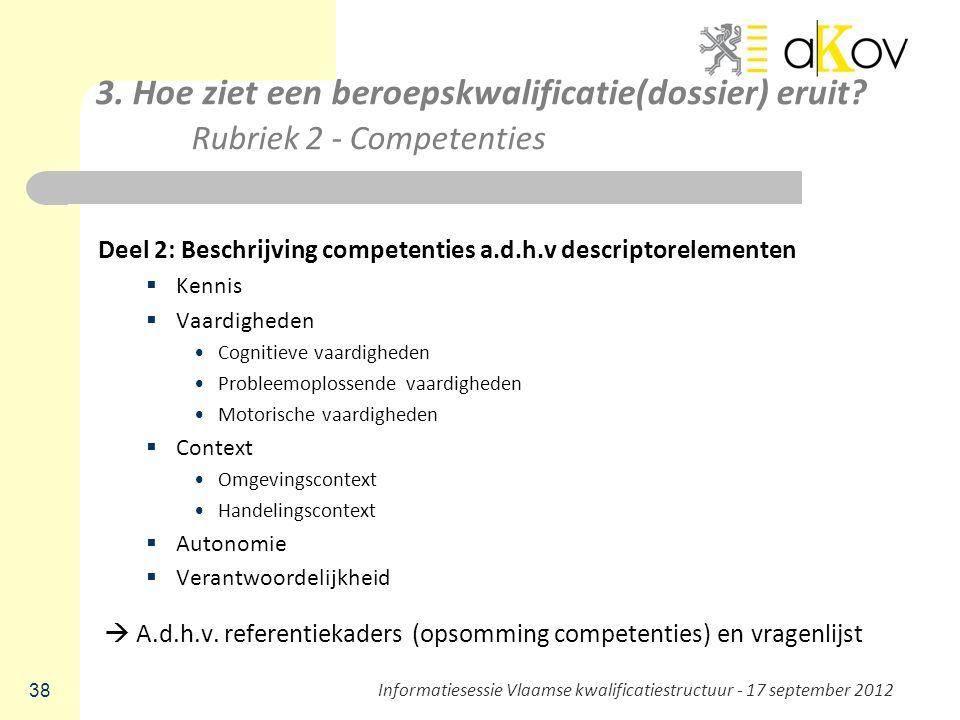 3. Hoe ziet een beroepskwalificatie(dossier) eruit? Rubriek 2 - Competenties Deel 2: Beschrijving competenties a.d.h.v descriptorelementen  Kennis 