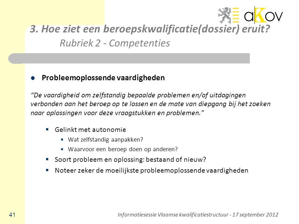 """3. Hoe ziet een beroepskwalificatie(dossier) eruit? Rubriek 2 - Competenties Probleemoplossende vaardigheden """"De vaardigheid om zelfstandig bepaalde p"""
