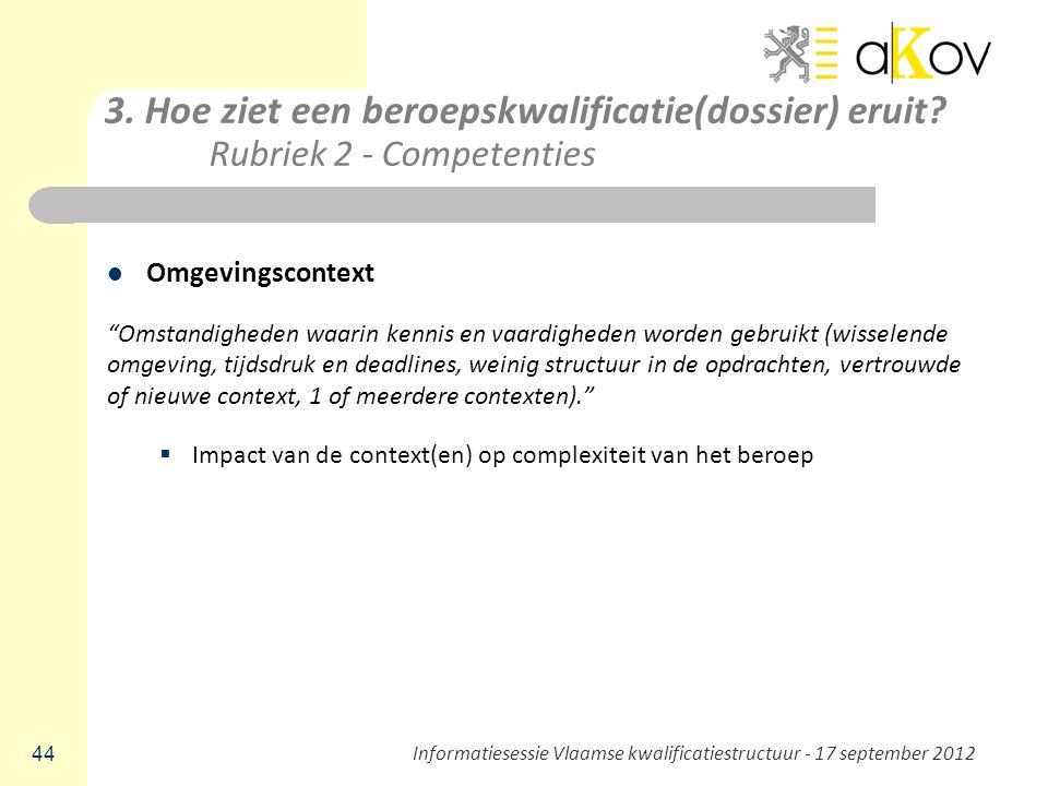 """3. Hoe ziet een beroepskwalificatie(dossier) eruit? Rubriek 2 - Competenties Omgevingscontext """"Omstandigheden waarin kennis en vaardigheden worden geb"""