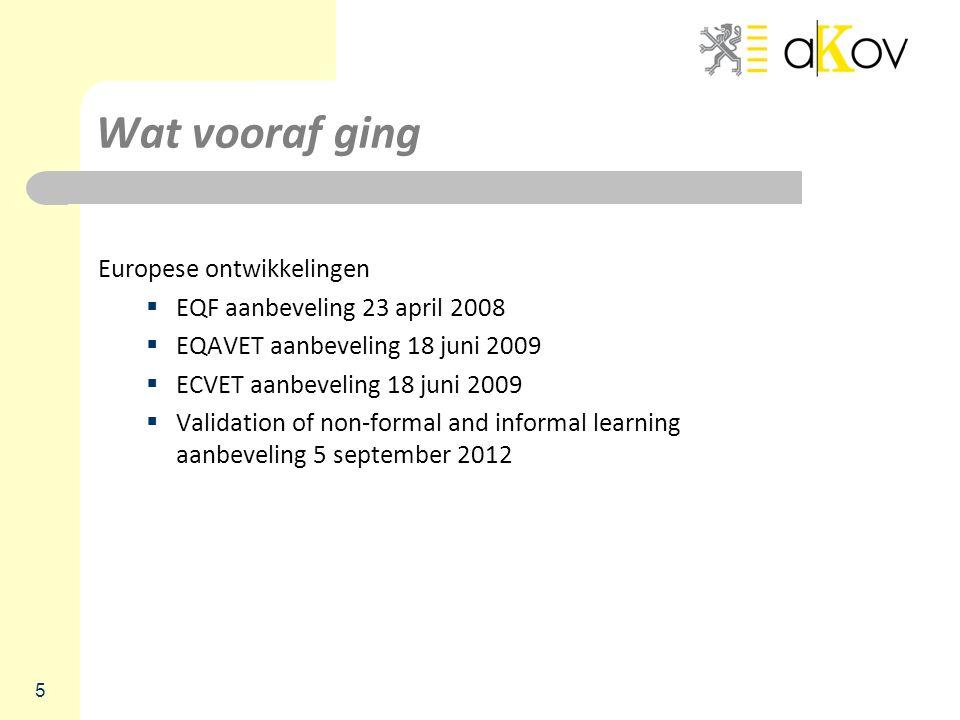 Wat vooraf ging Europese ontwikkelingen  EQF aanbeveling 23 april 2008  EQAVET aanbeveling 18 juni 2009  ECVET aanbeveling 18 juni 2009  Validatio