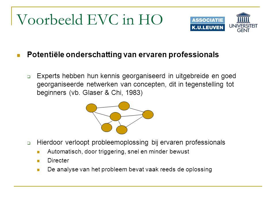 Voorbeeld EVC in HO Potentiële onderschatting van ervaren professionals  Experts hebben hun kennis georganiseerd in uitgebreide en goed georganiseerde netwerken van concepten, dit in tegenstelling tot beginners (vb.