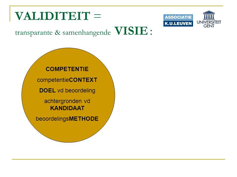 VALIDITEIT = transparante & samenhangende VISIE : COMPETENTIE competentieCONTEXT DOEL vd beoordeling achtergronden vd KANDIDAAT beoordelingsMETHODE