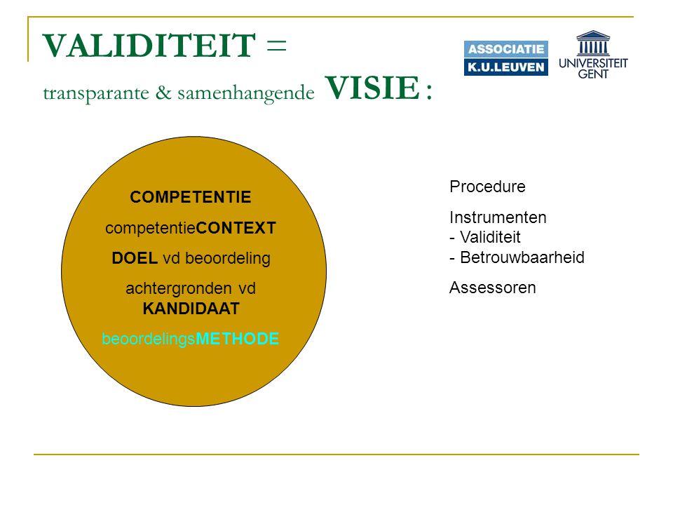 VALIDITEIT = transparante & samenhangende VISIE : COMPETENTIE competentieCONTEXT DOEL vd beoordeling achtergronden vd KANDIDAAT beoordelingsMETHODE Procedure Instrumenten - Validiteit - Betrouwbaarheid Assessoren