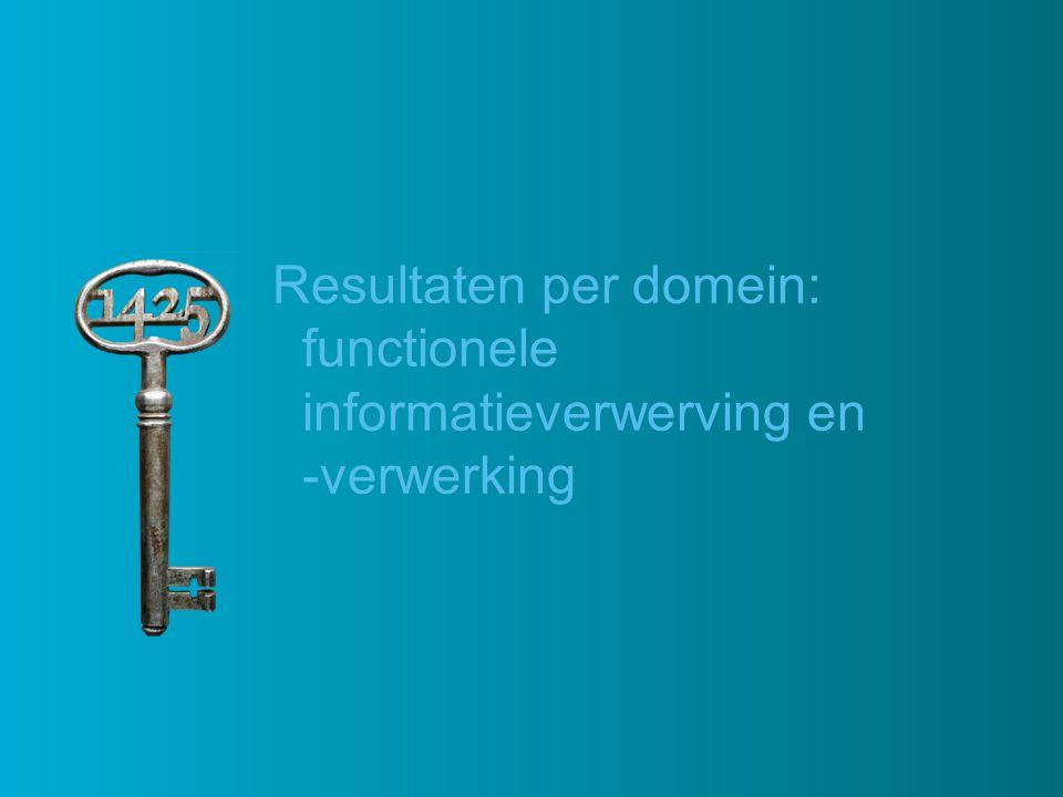 Resultaten per domein: functionele informatieverwerving en -verwerking