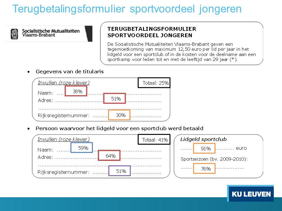 Terugbetalingsformulier sportvoordeel jongeren