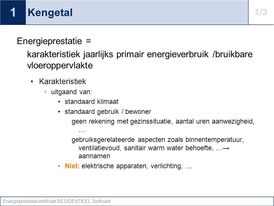 Energieprestatiecertificaat RESIDENTIEEL: Software Kengetal Energieprestatie = karakteristiek jaarlijks primair energieverbruik /bruikbare vloeropperv